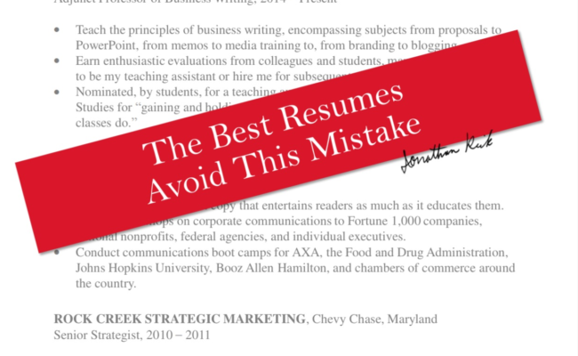 The Best Resumes Avoid This Mistake