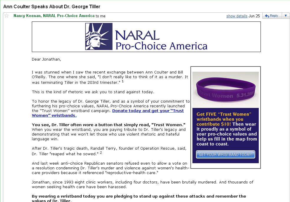 Fund-raising e-mail from NARAL Pro-Choice America