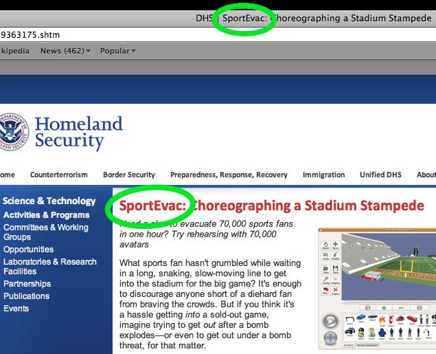 Screen Shot of SportEvac Snapshot