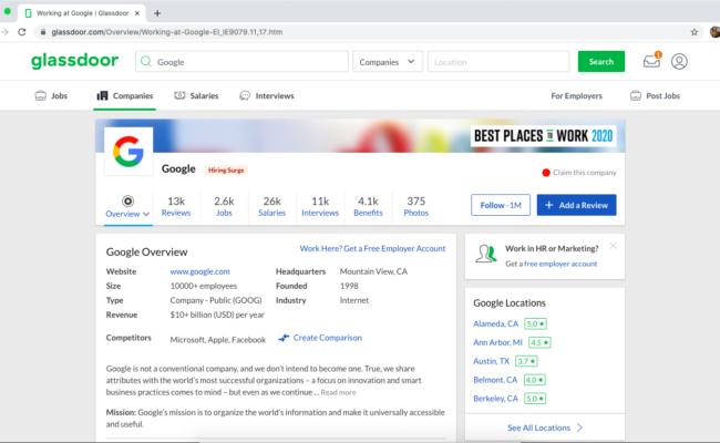 Google's Glassdoor Reviews
